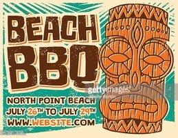 Retro Aloha Beach Bbq Tiki Screen Printed Poster stock.