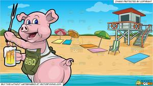 A Pig Cook Holding A Beer And Bbq Fork and Summer Beach Shore Background.
