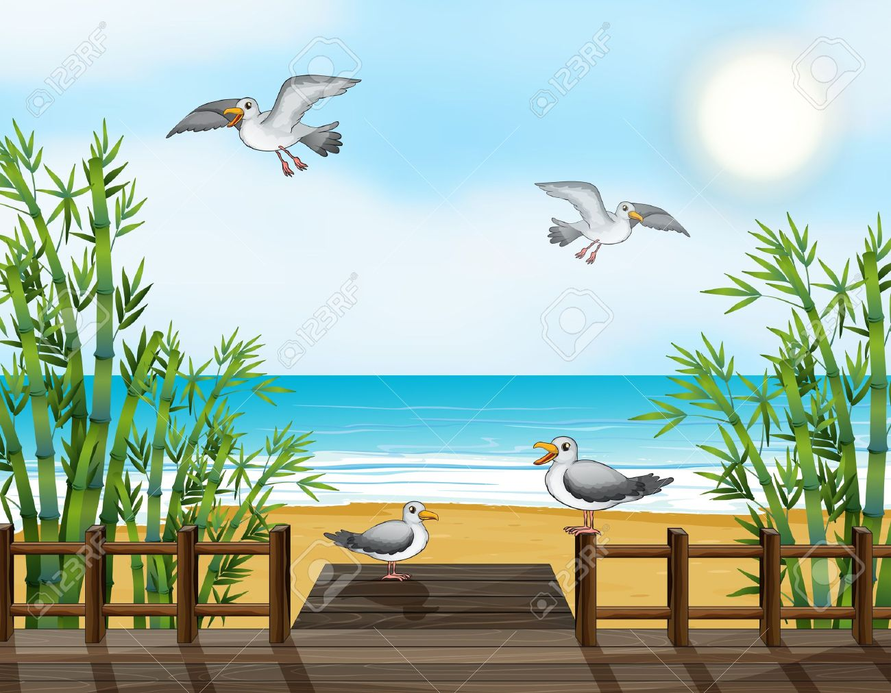 Illustration Of A Flock Of Birds At The Bridge Royalty Free.