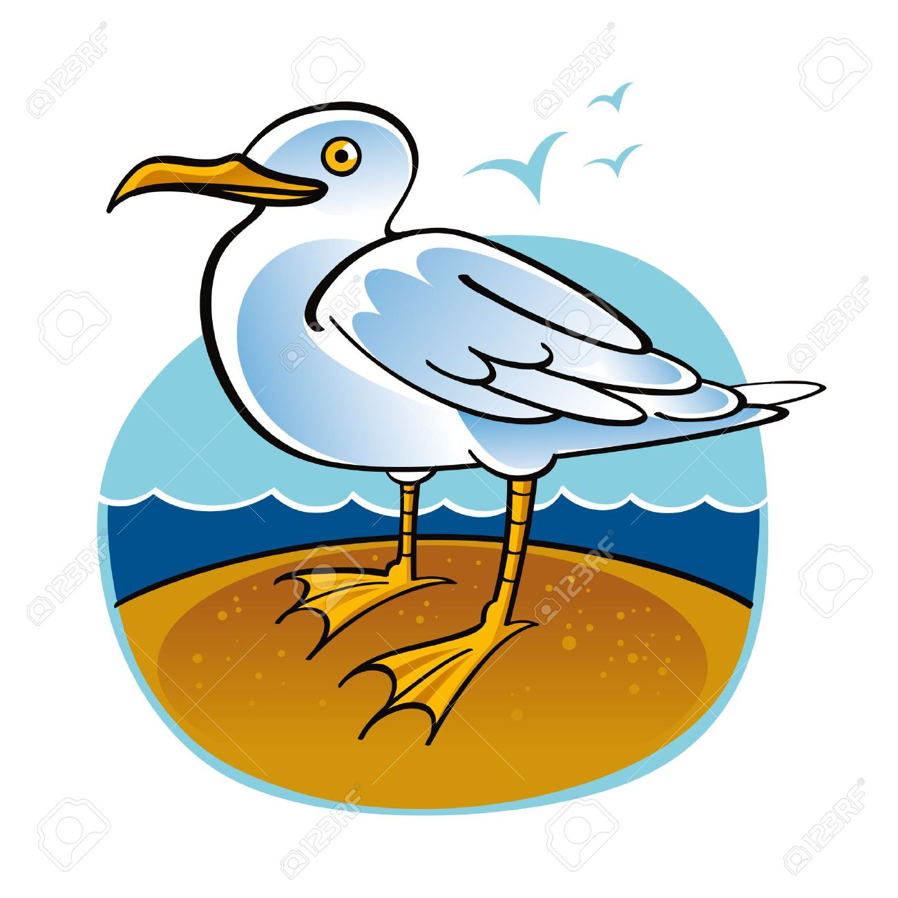 Sea Gull Bird Ocean Beach Fauna Nature Royalty Free Cliparts.