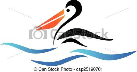 Vector Clipart of Pelican bird on beach vector logo.