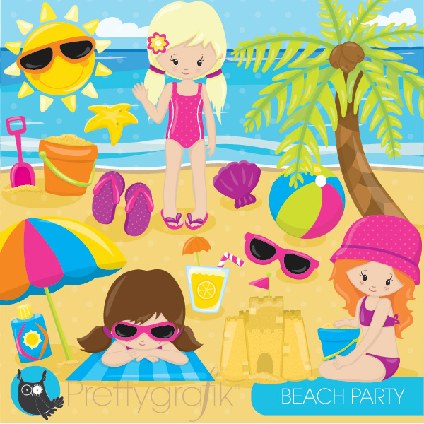 Beach Party Girl Clipart