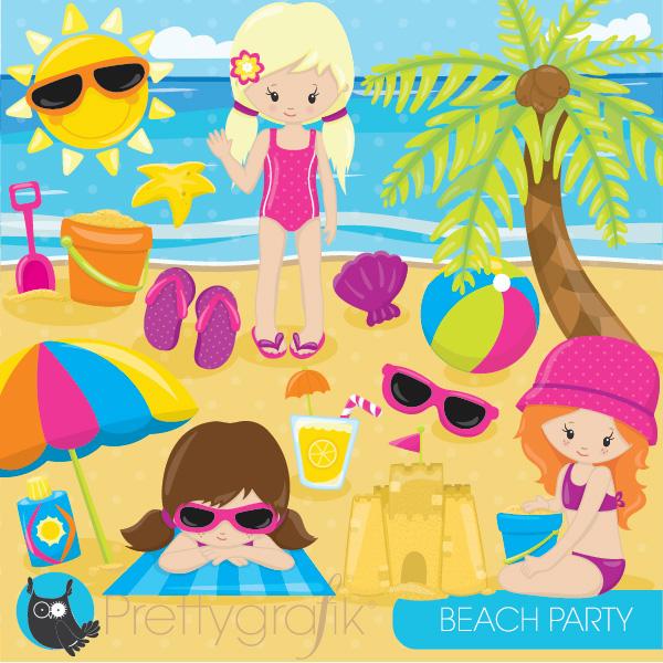 beach party girl clipart.