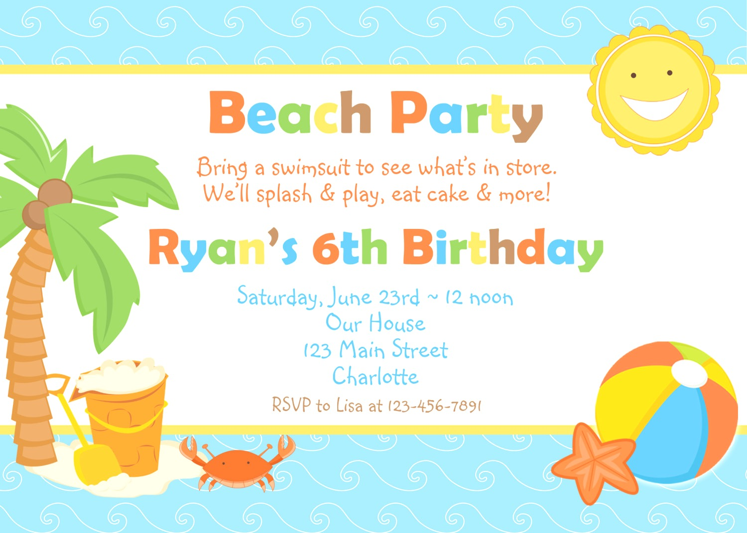 Birthday Party Clipart And Templates Logo More Beach Invitation.