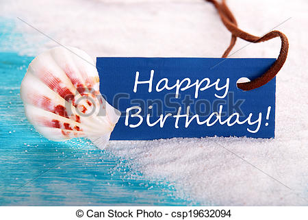 Stock Photographs of Happy Birthday in Beach Background.