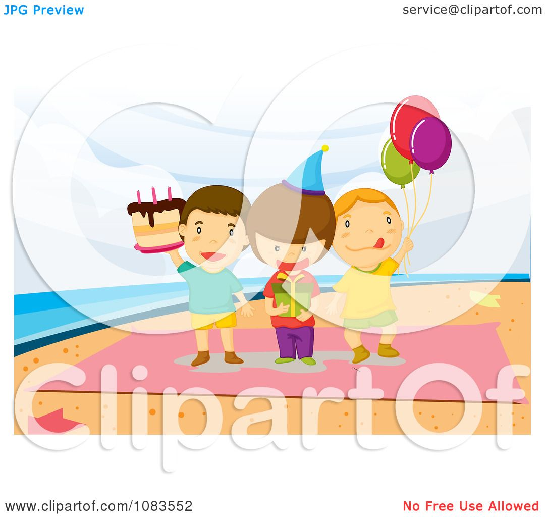 Clipart Boys Standing On A Towel At A Beach Birthday Party.