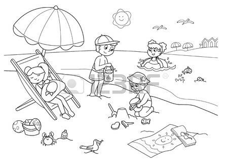 Beach Black And White Clipart 10988073 Children Playing With The.