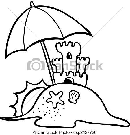 beach scene clip art black and white.