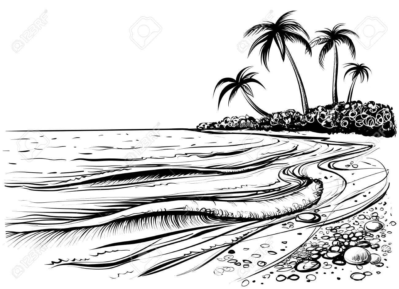 Ocean or sea beach with waves, sketch. Black and white vector...