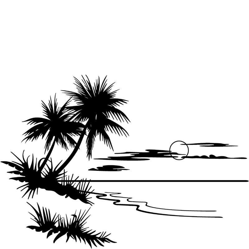 Beach black and white clipart 5 » Clipart Portal.