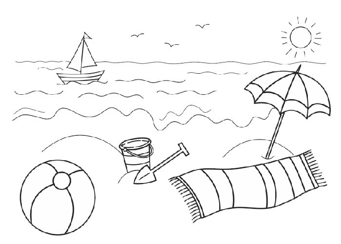 Free Beach Clipart Black And White.
