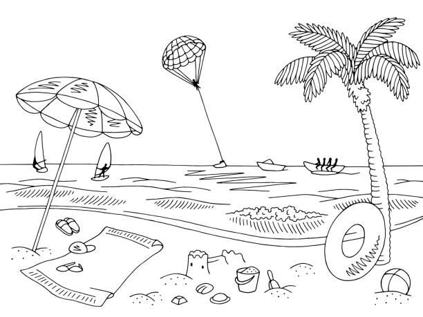 Best Cartoon Of Black White Beach Illustrations, Royalty.