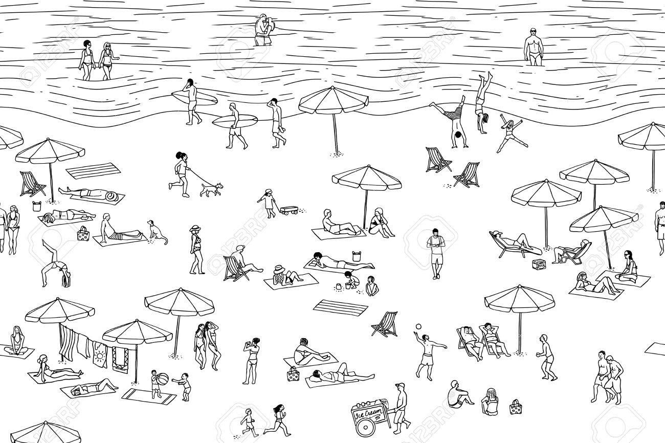 Tiny people at the beach (black and white).
