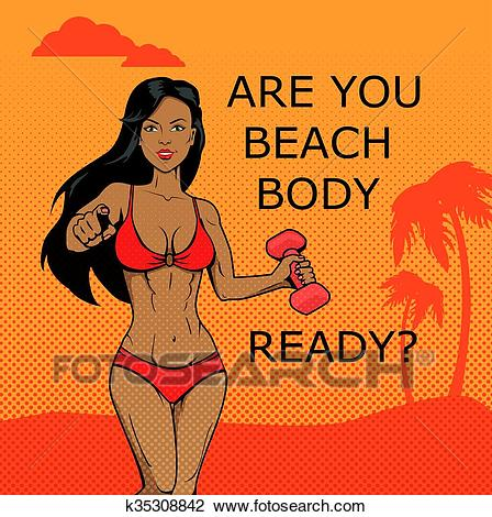 Fitness Girl. Beach Body Ready Design Clipart.