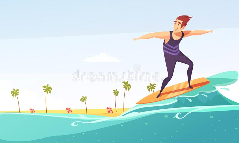 Surfing Beach Body Cartoon Stock Illustrations.