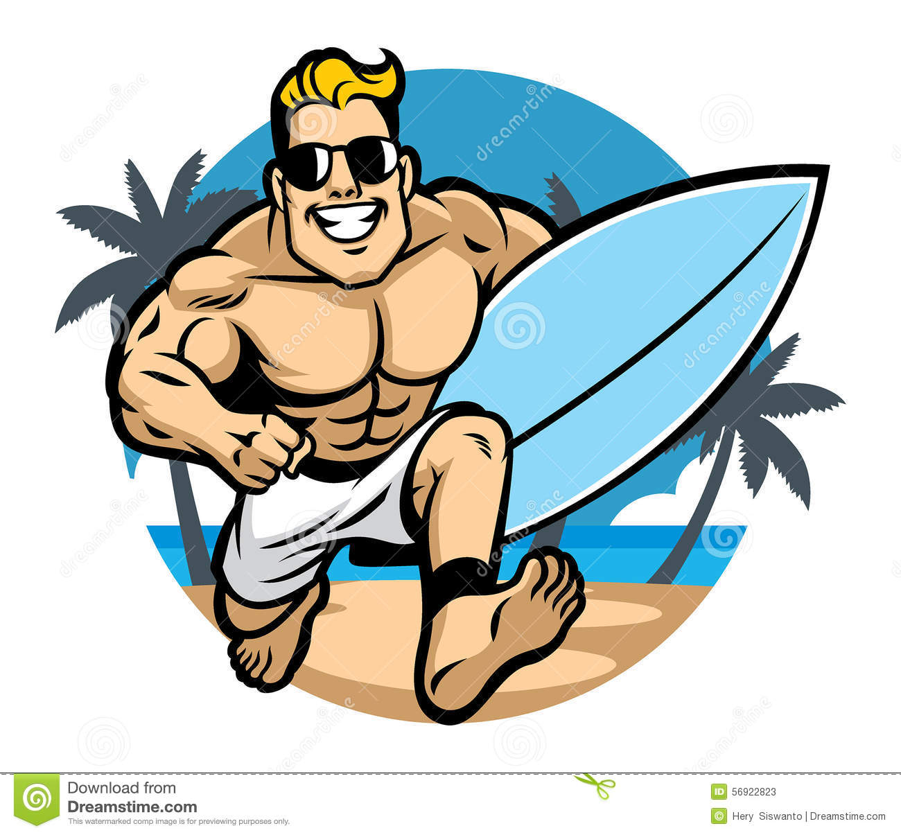 Muscle Body Surfer Running At The Beach Stock Vector.