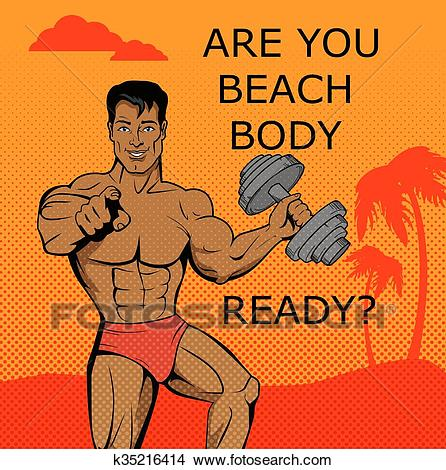 Fitness Boy. Beach Body Ready Design Clipart.