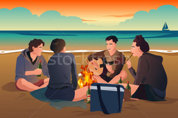 beach bonfire clipart #8