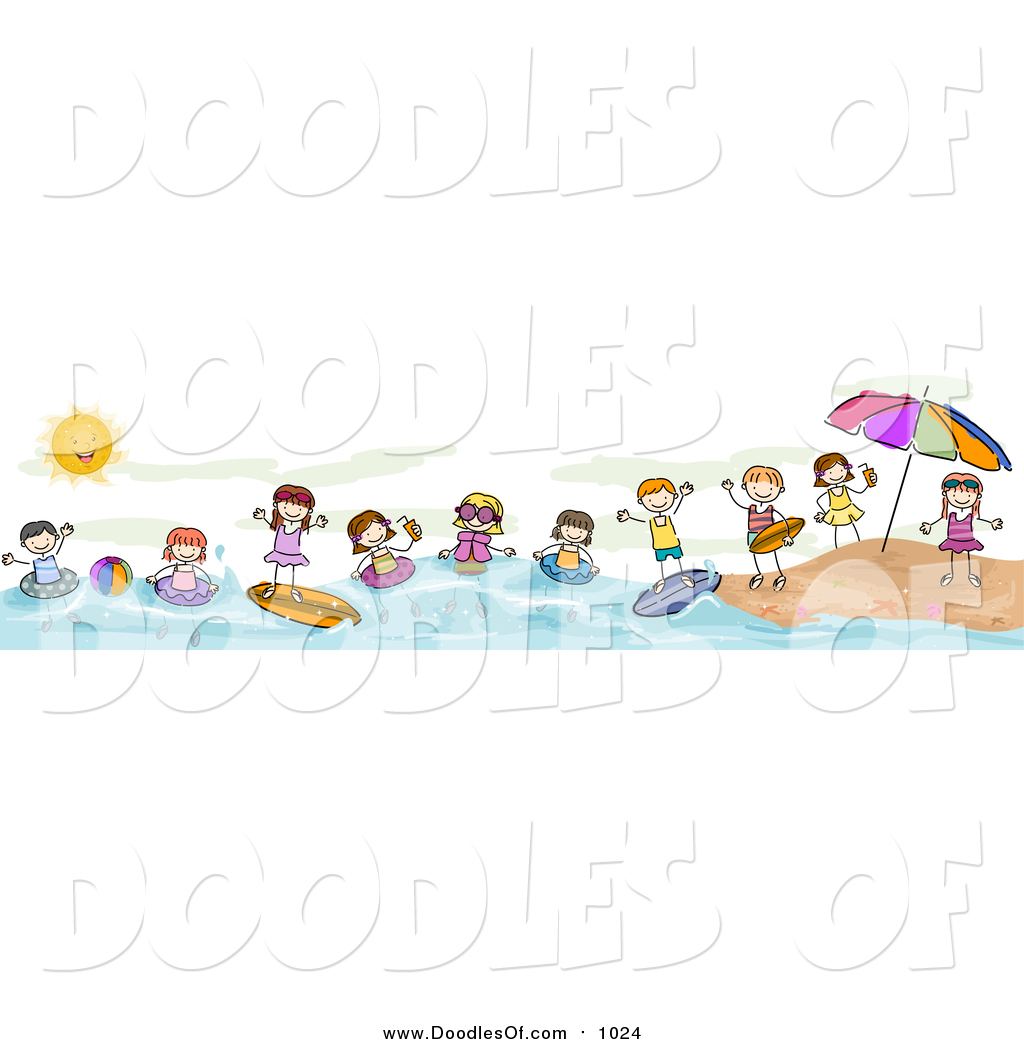 Vector Clipart of a Doodled Border of Summer Doodled Kids at the.