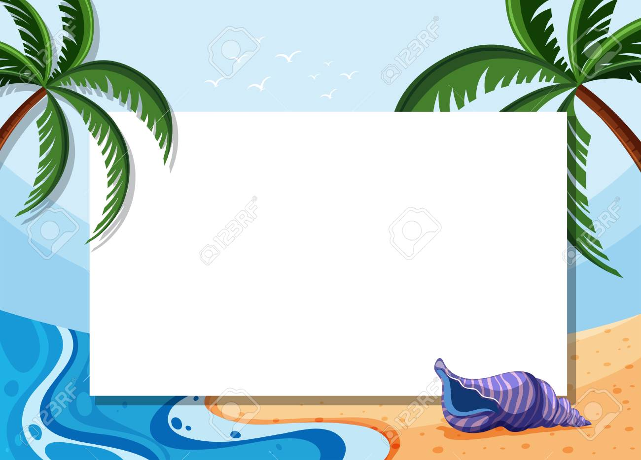 Border template with coconut trees and shell on beach illustration..