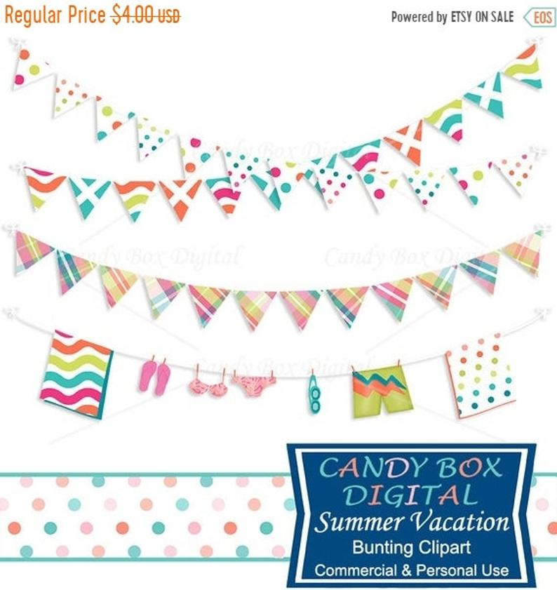 RETIREMENT SALE Summer Vacation Bunting Clipart, Beach Border Clip Art.