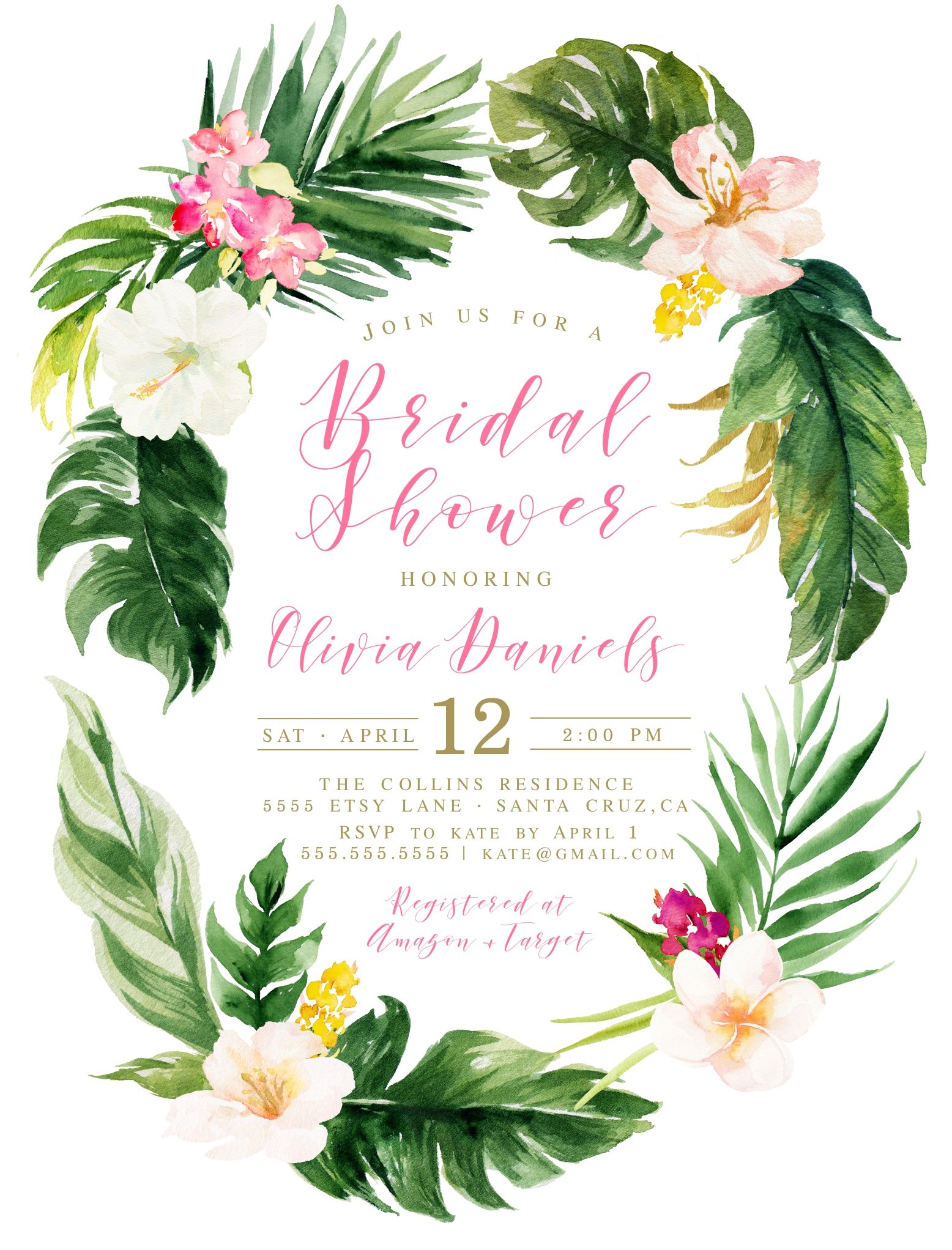 Tropical Bridal Shower, Invitations for a tropical theme.