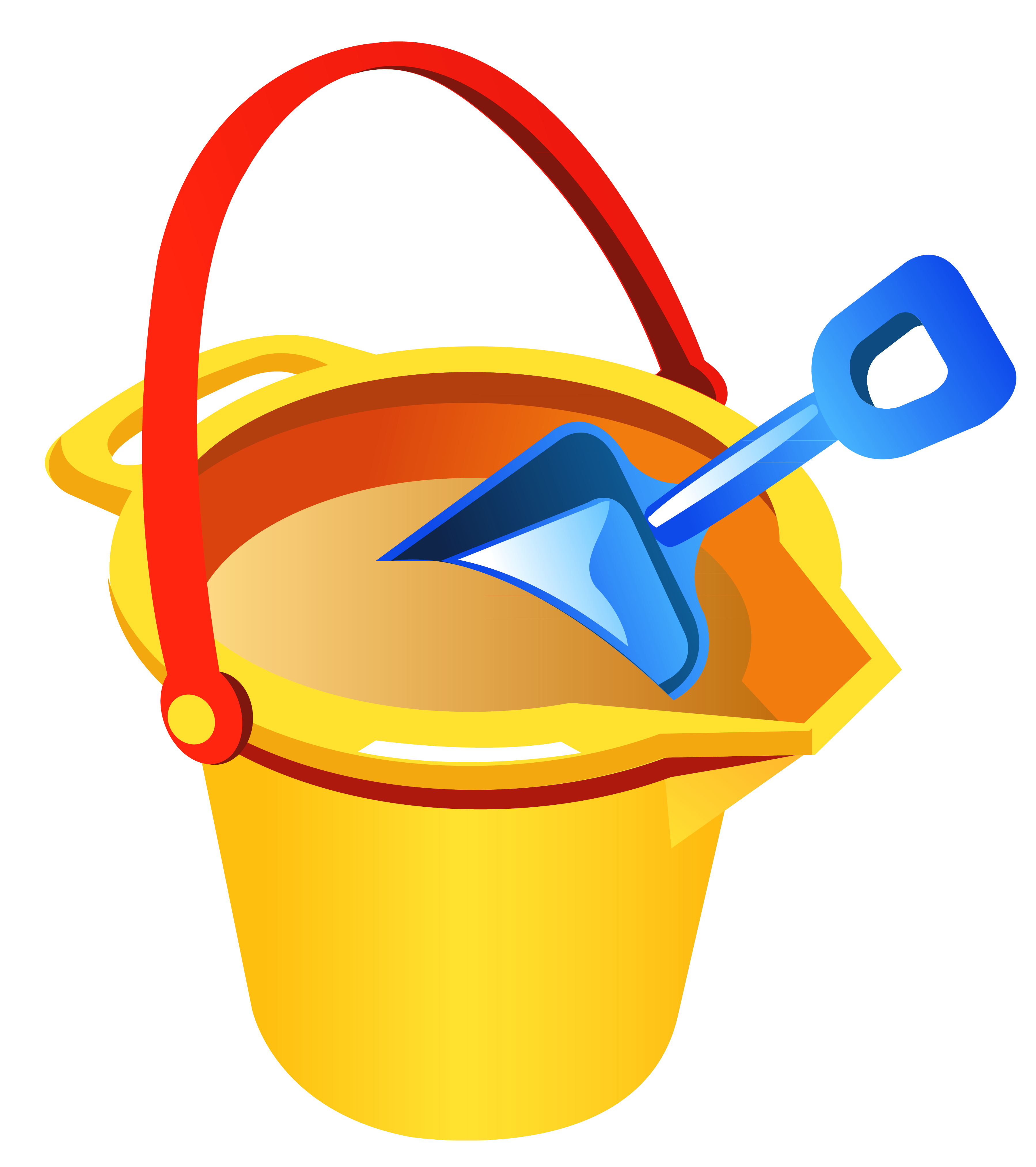 Transparent Beach Bucket and Shovel PNG Clipart.