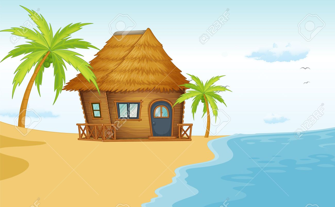 Beach shack clipart.