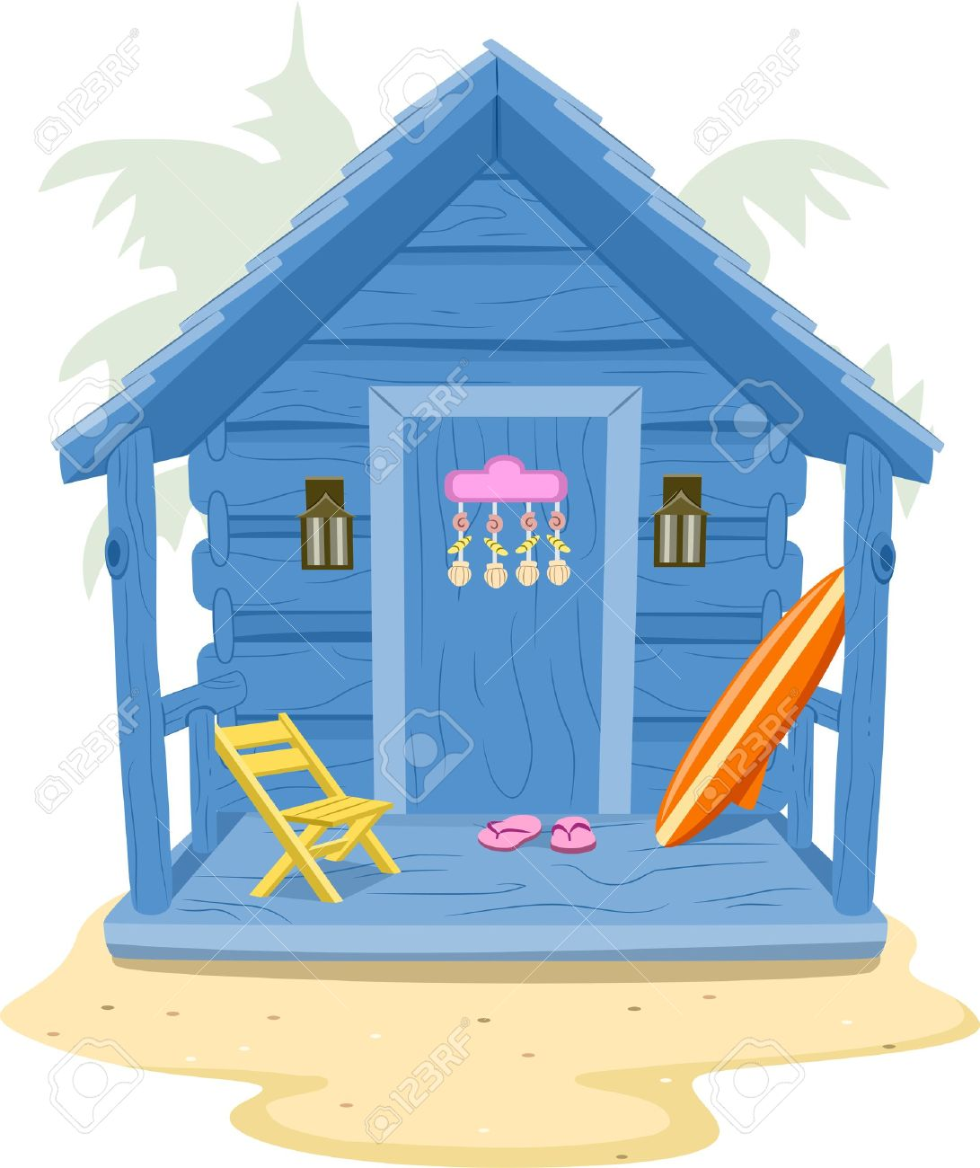 Background Illustration Featuring A Beach Cabin Royalty Free.