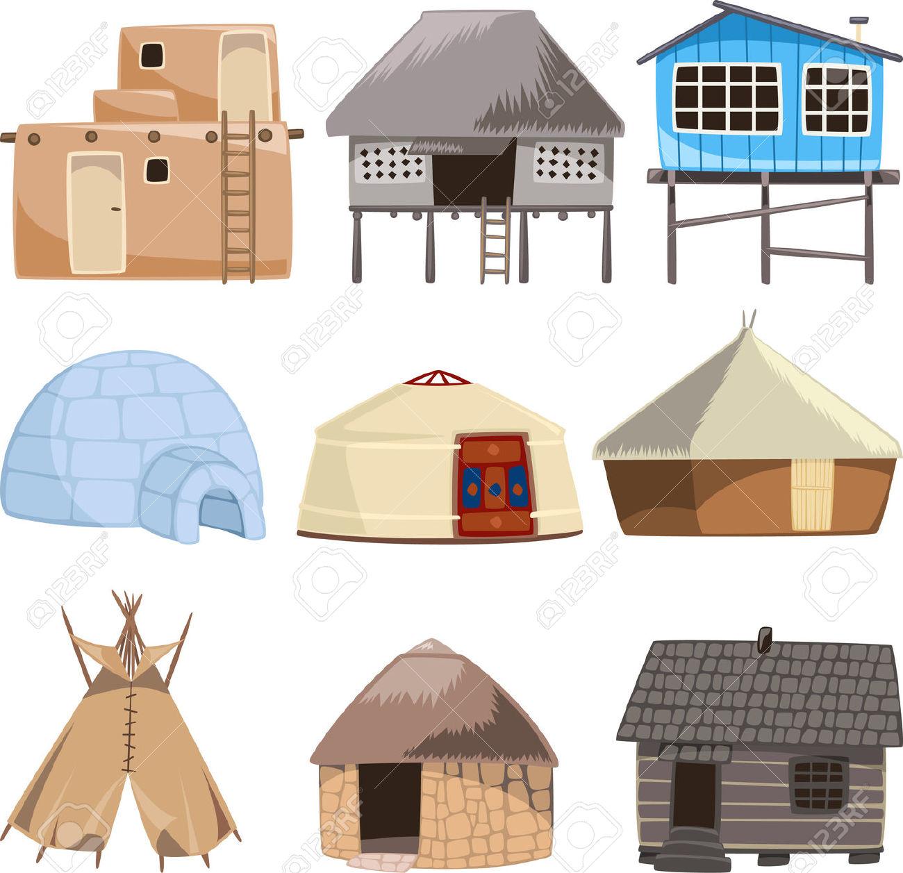 Set Of Traditional Housed. With House, Igloo, Hut, Shack, Slum.