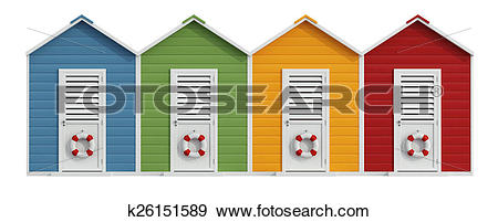 Stock Illustration of Colorful beach cabins k26151589.