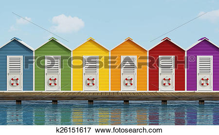 Stock Illustration of Beach cabins on wooden pier k26151617.