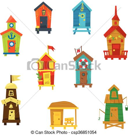 Clipart Vector of Little Beach Cabins Cute Set Of Cartoon Style.