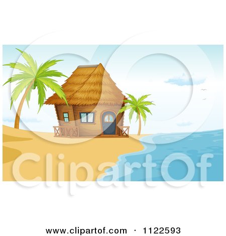 Cartoon Of A Bamboo Bungalow Hut Or House On A Beach.