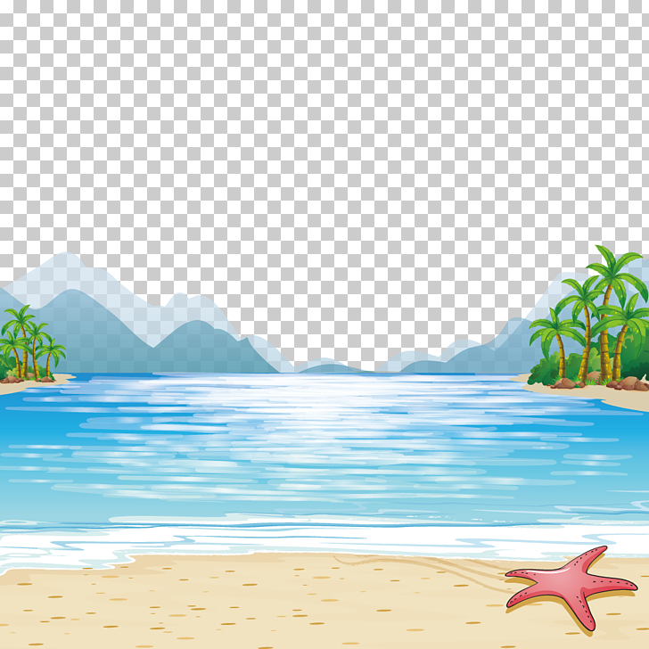Child Beach Illustration, sea mountains, starfish at beach.