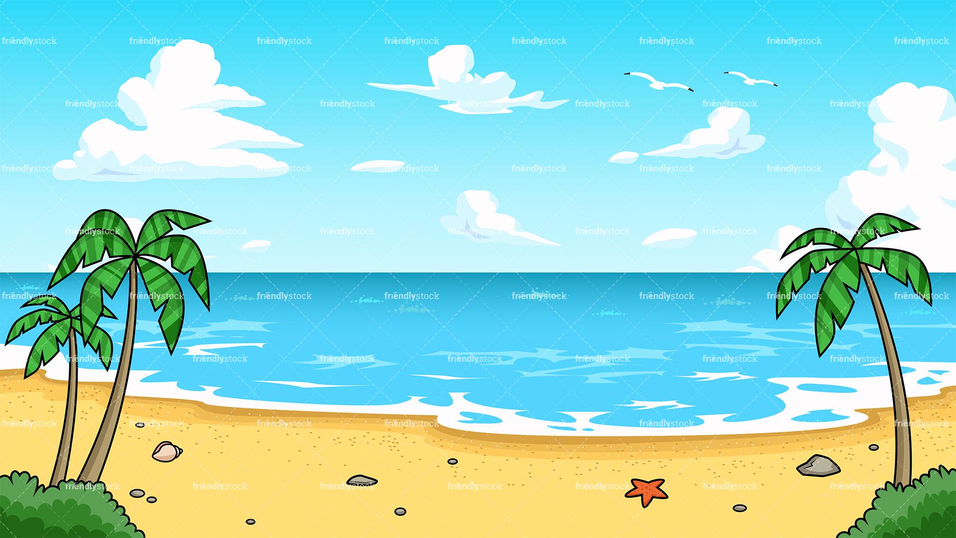 beach cartoon.