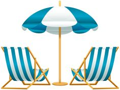 Beach Chair and Umbrella PNG Clip Art Transparent Image.
