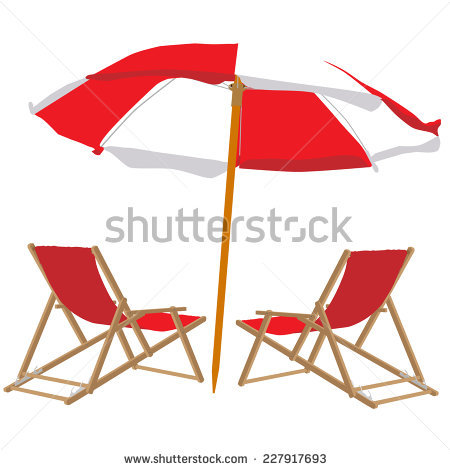Beach Chair Umbrella Stock Images, Royalty.