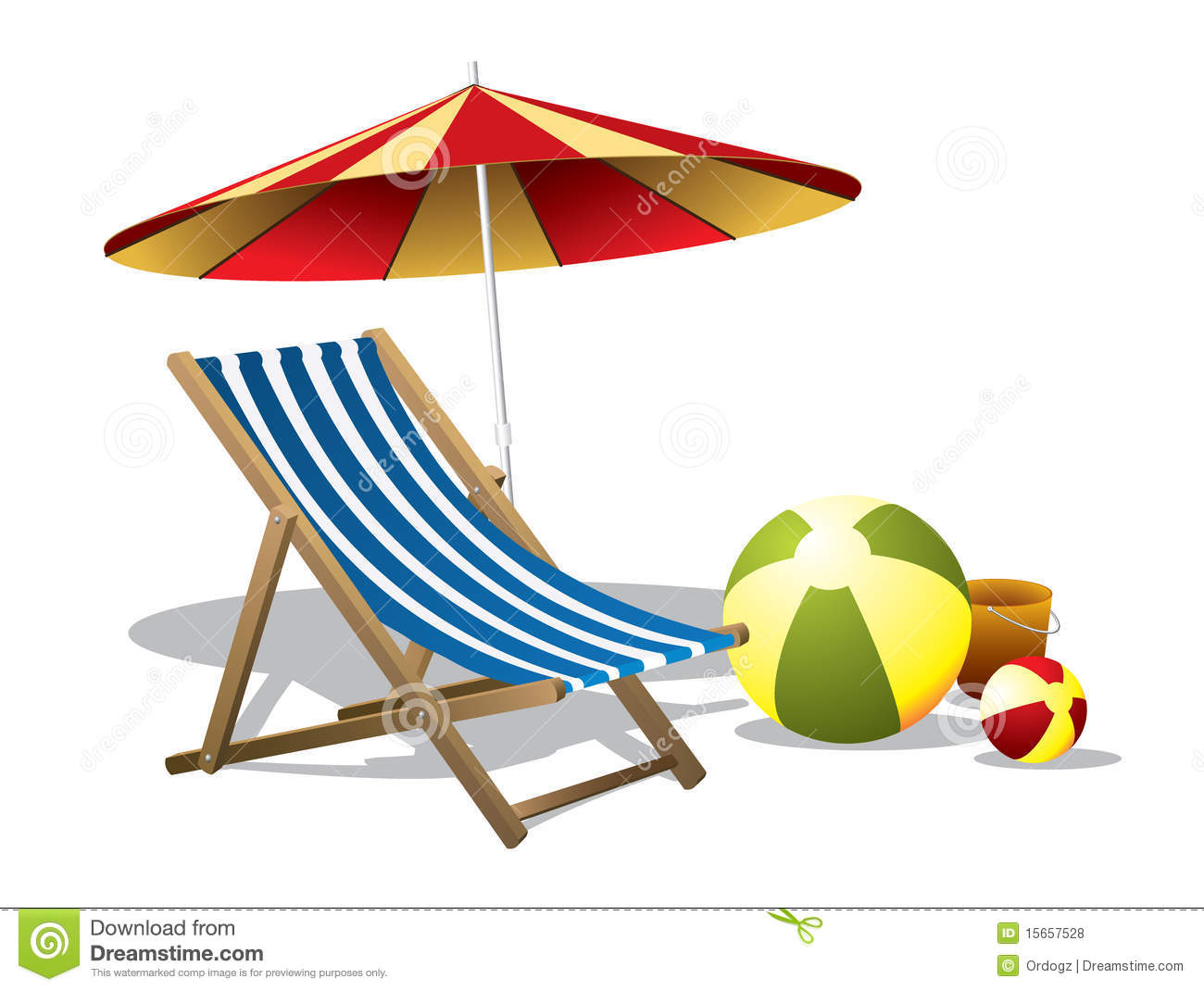 Beach Chair And Umbrella Free Clipart