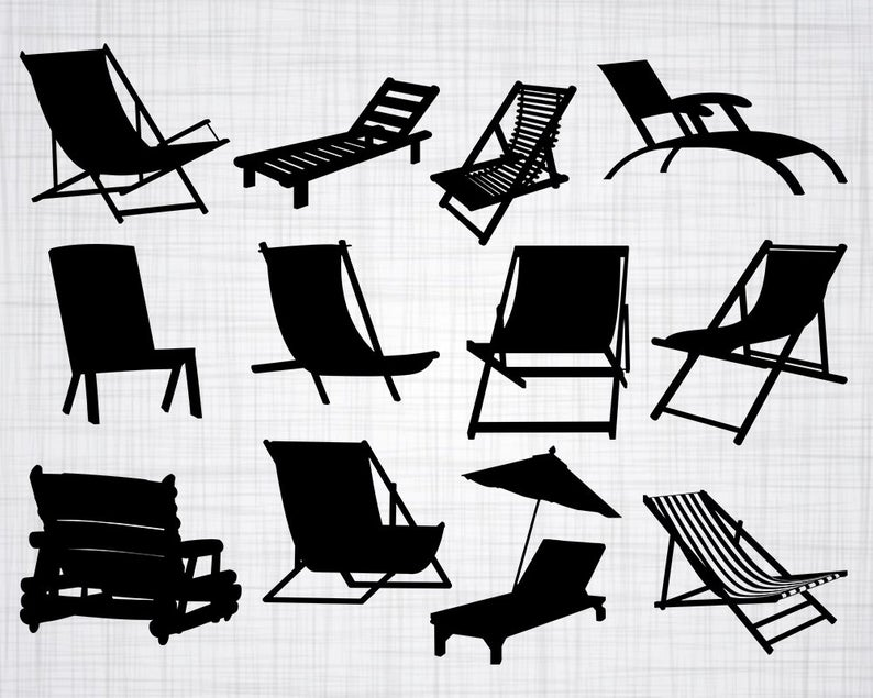 Beach Chair SVG Bundle, Beach Chair SVG, Beach Chair Clipart, Cut Files For  Silhouette, Files for Cricut, Vector, Svg, Dxf, Png, Eps, Design.