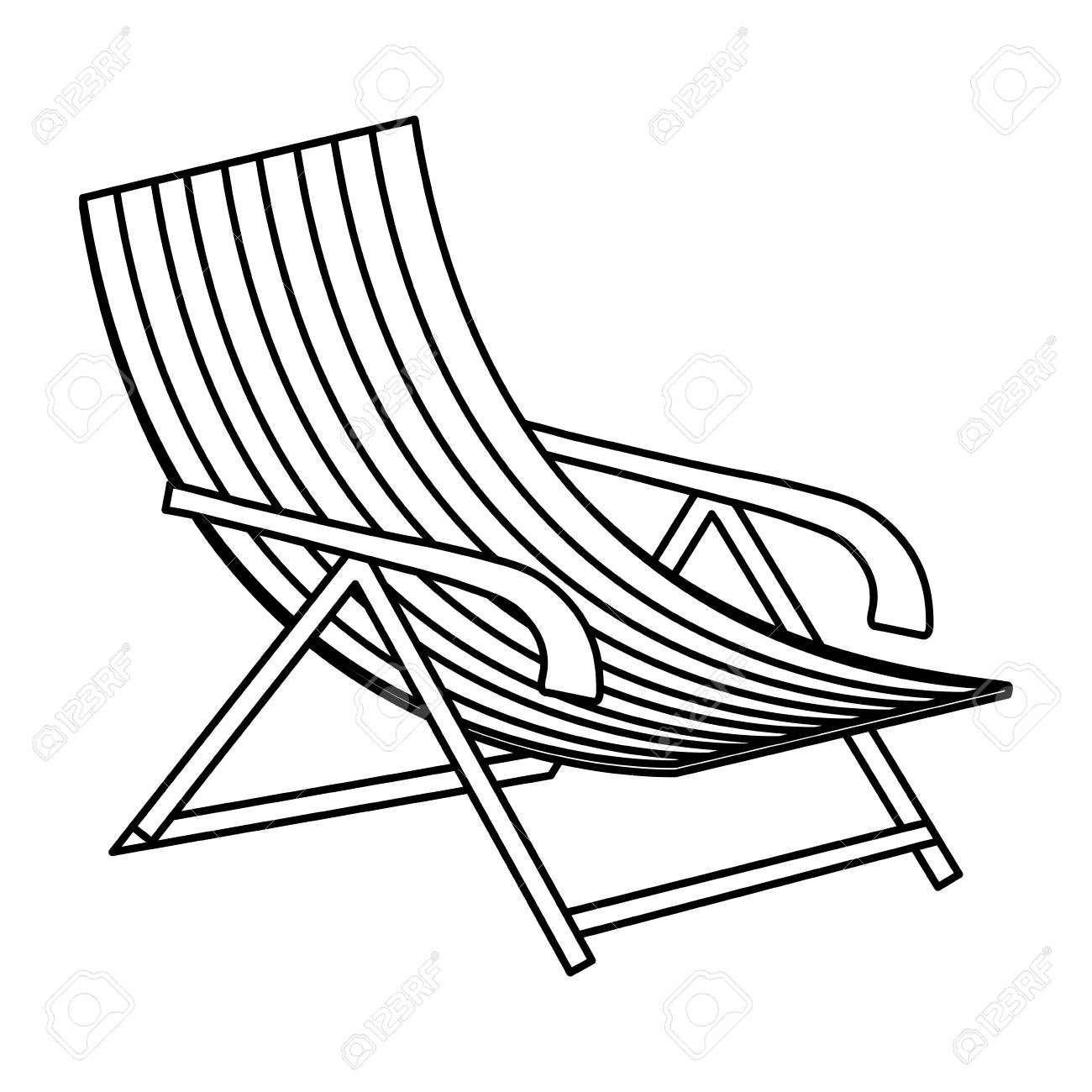 beach chair icon over white background, vector illustration.