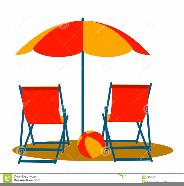 Beach Chairs Umbrellas Clipart.
