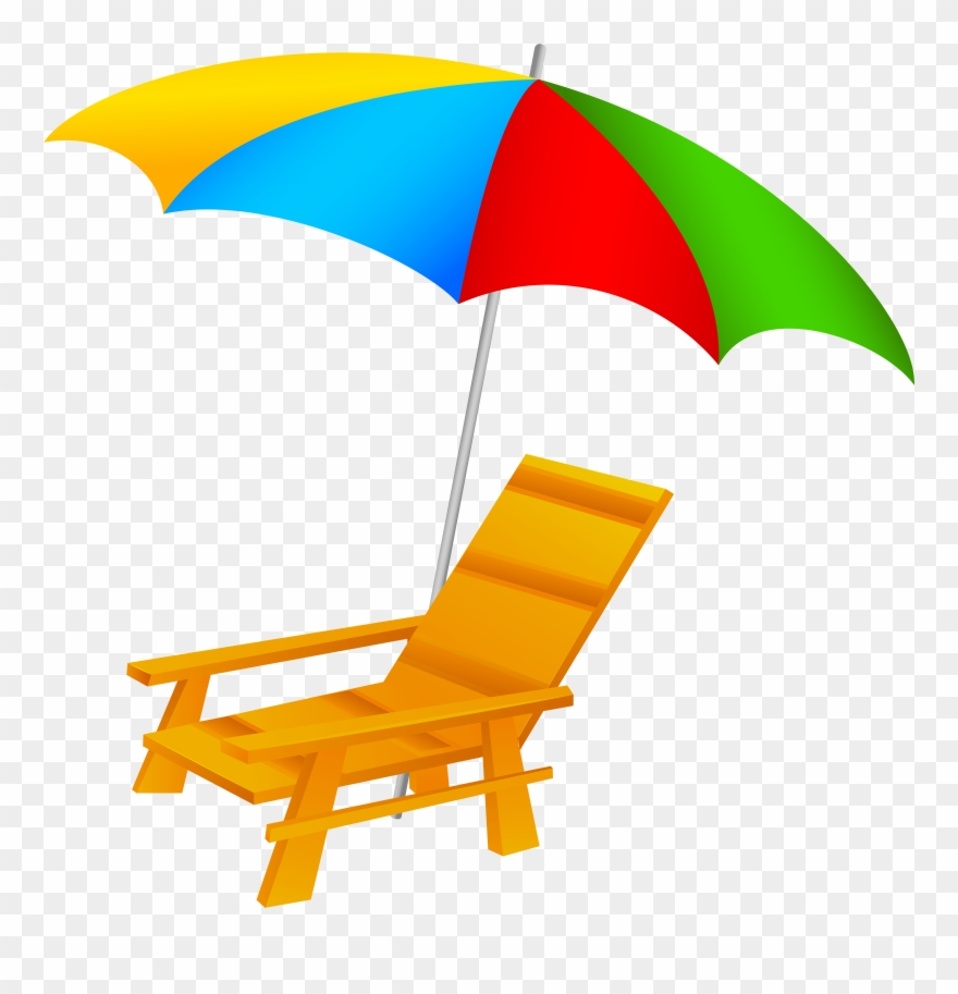 Beach Umbrella And Chair Png Clip Art.