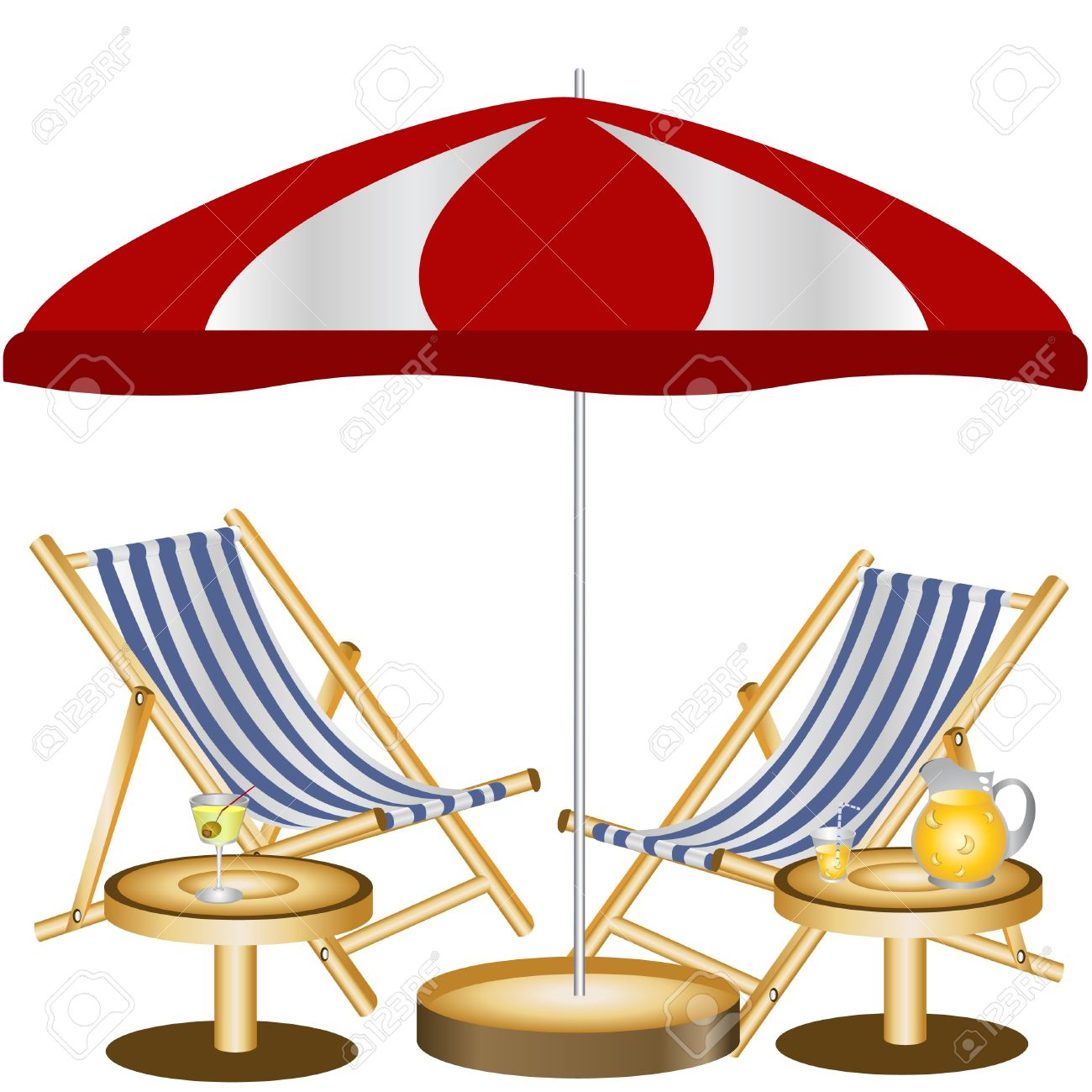 Beach chair clip art, beach umbrella graphic.