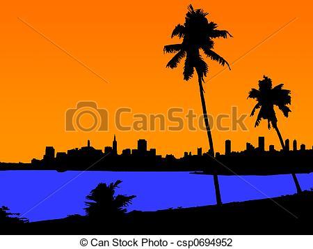 Background silhouette orange sunset palms tree beach city Clipart.