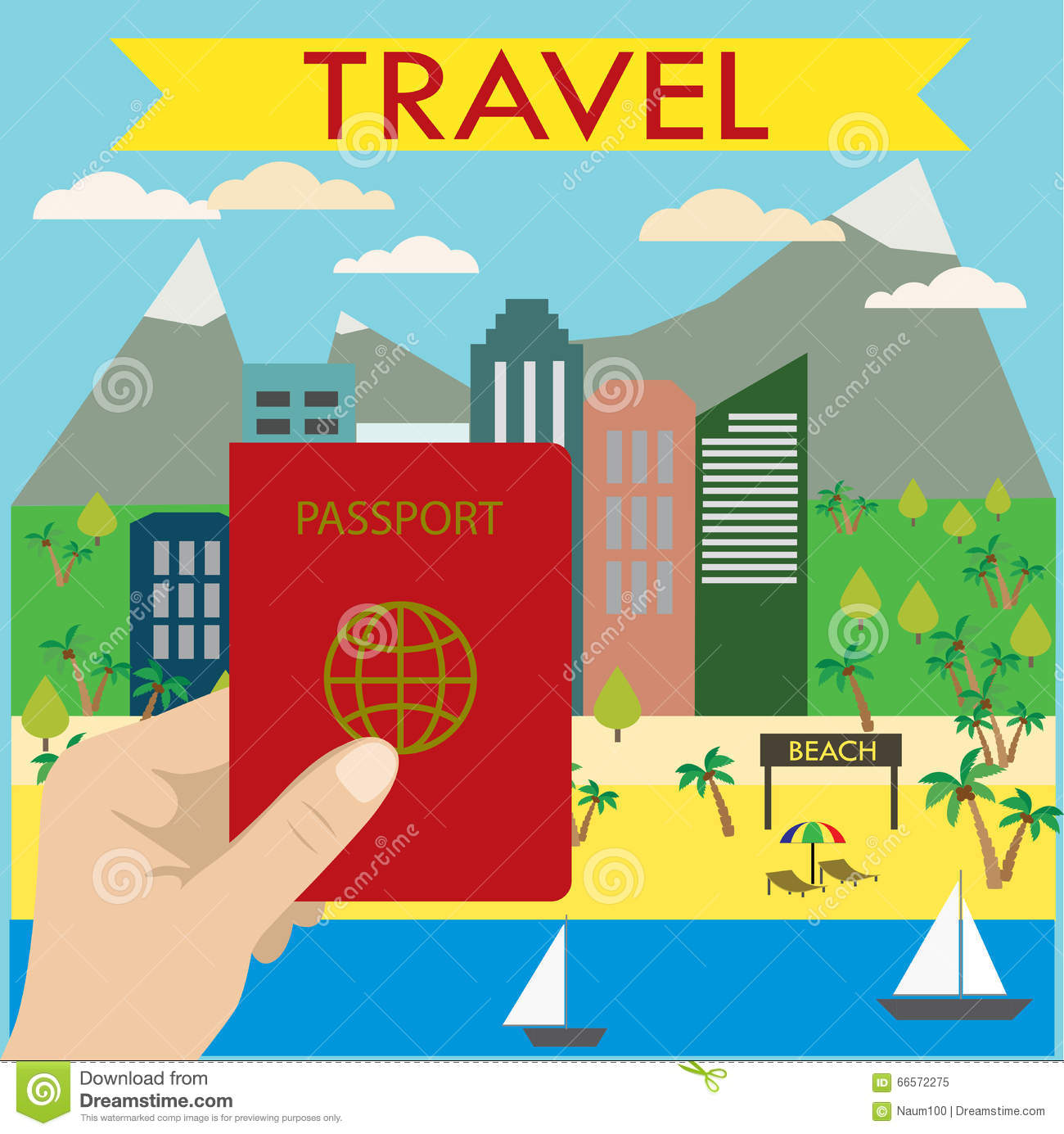 Hand Holds A Passport In The Background Beach City Stock Vector.