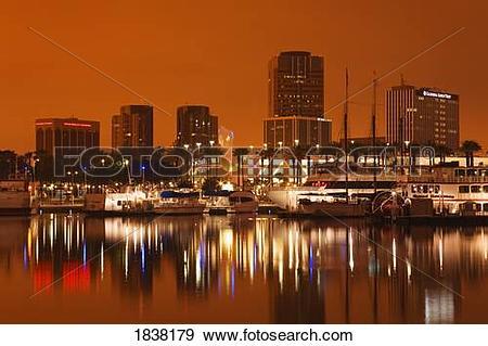 Stock Photograph of Rainbow Harbor and skyline, Long Beach City.