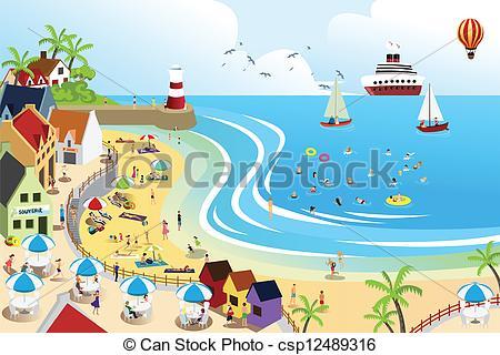 City Beach Clipart.