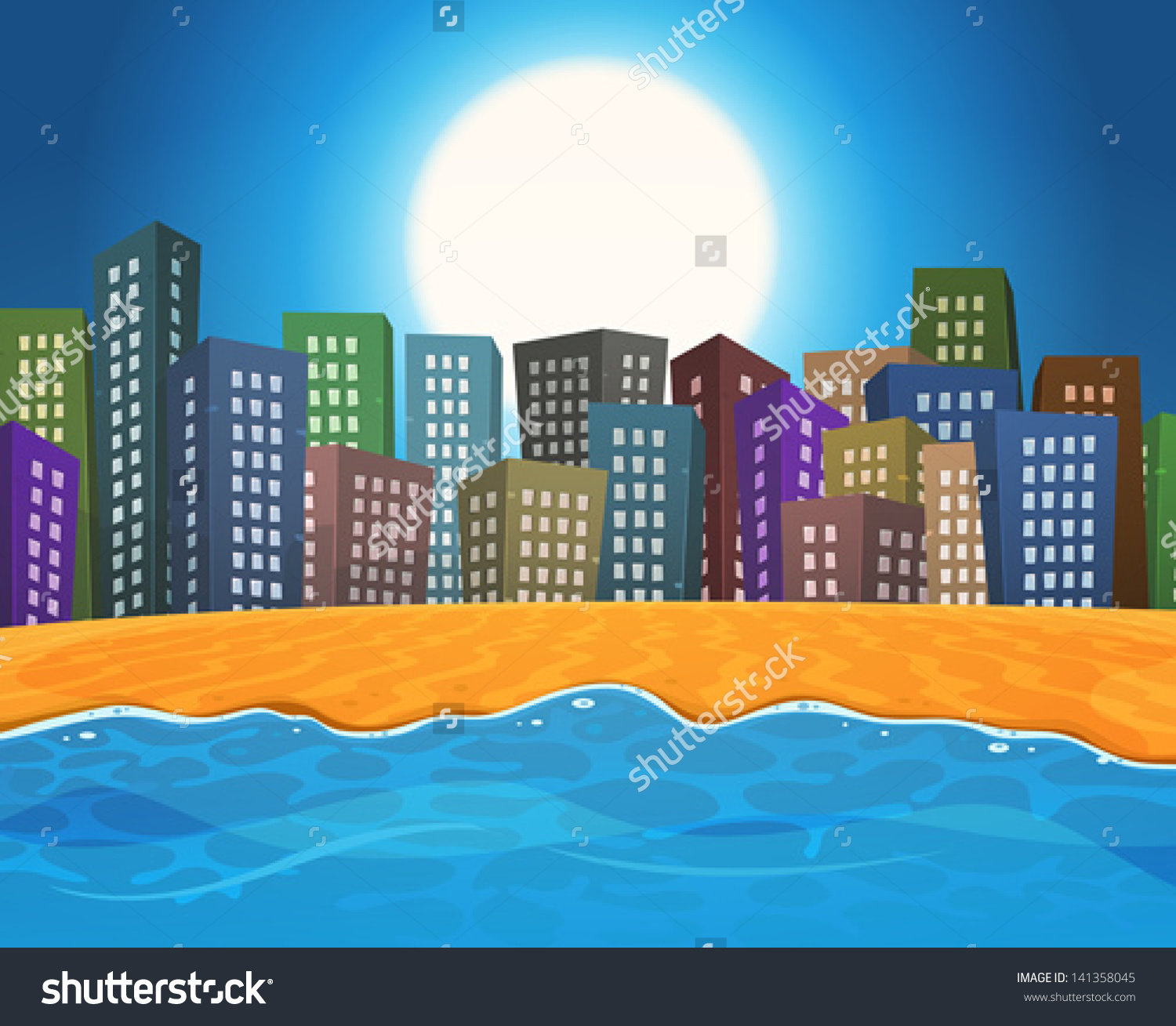 Summer Beach By City Illustration Cartoon Stock Vector 141358045.
