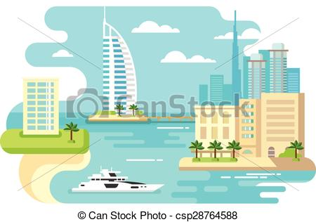 Vector of Dubai City Beach Skyline.